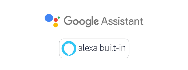 Logos de l'Assistant Google et d'Amazon Alexa.