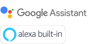 Logos de l'Assistant Google et d'Alexa Built-in